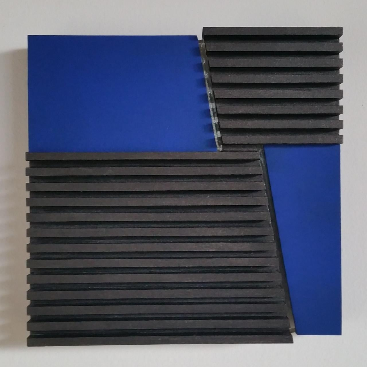 Intersection III 12/25 - blue grey contemporary modern sculpture painting relief