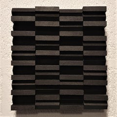 Intervalle I 23/50 - black grey contemporary modern sculpture painting relief