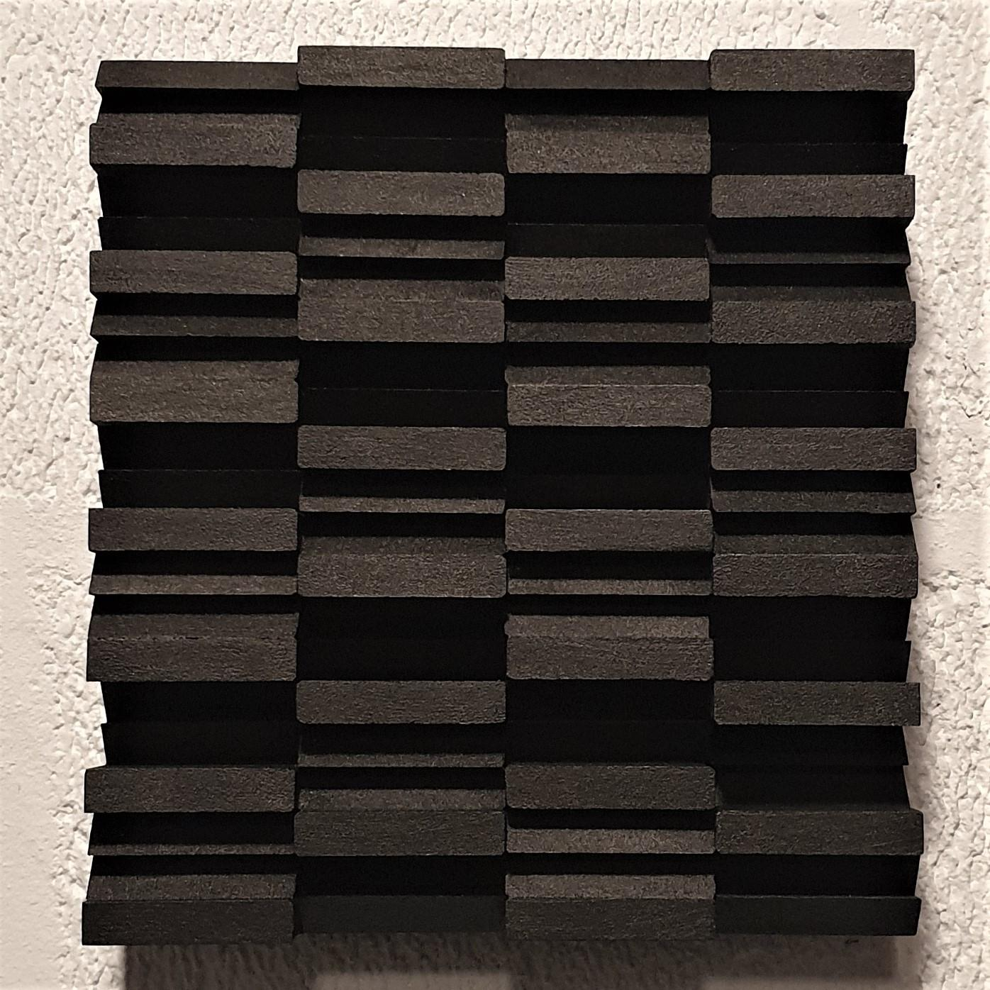 Intervalle II 11/25 - black grey contemporary modern sculpture painting relief