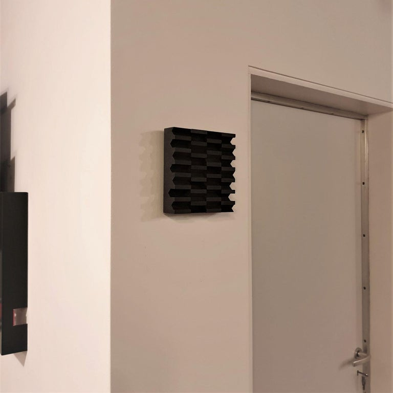 Intervalle III 7/25 - black grey contemporary modern sculpture painting relief - Contemporary Sculpture by Olivier Julia