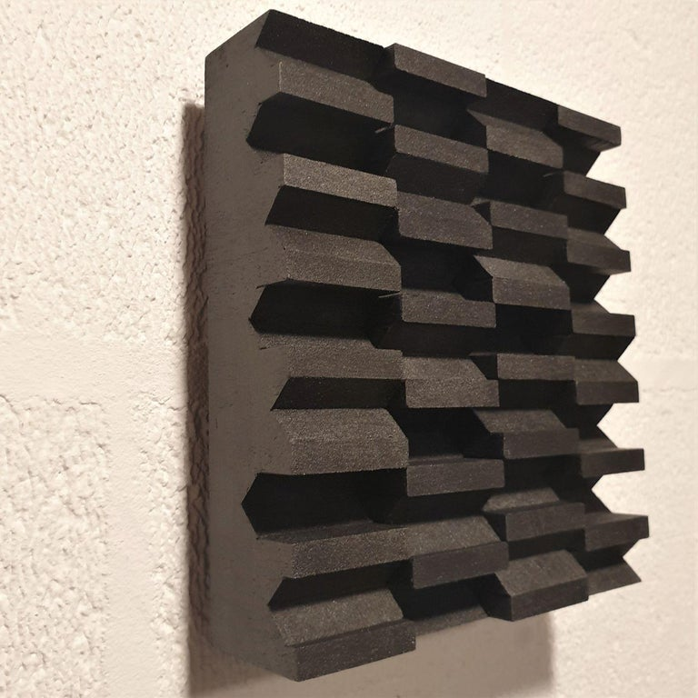 Intervalle III 7/25 - black grey contemporary modern sculpture painting relief - Black Abstract Sculpture by Olivier Julia