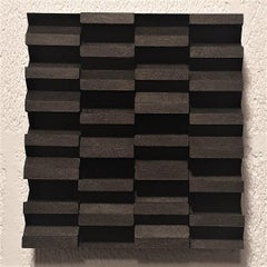 Intervalle III 7/25 - black grey contemporary modern sculpture painting relief
