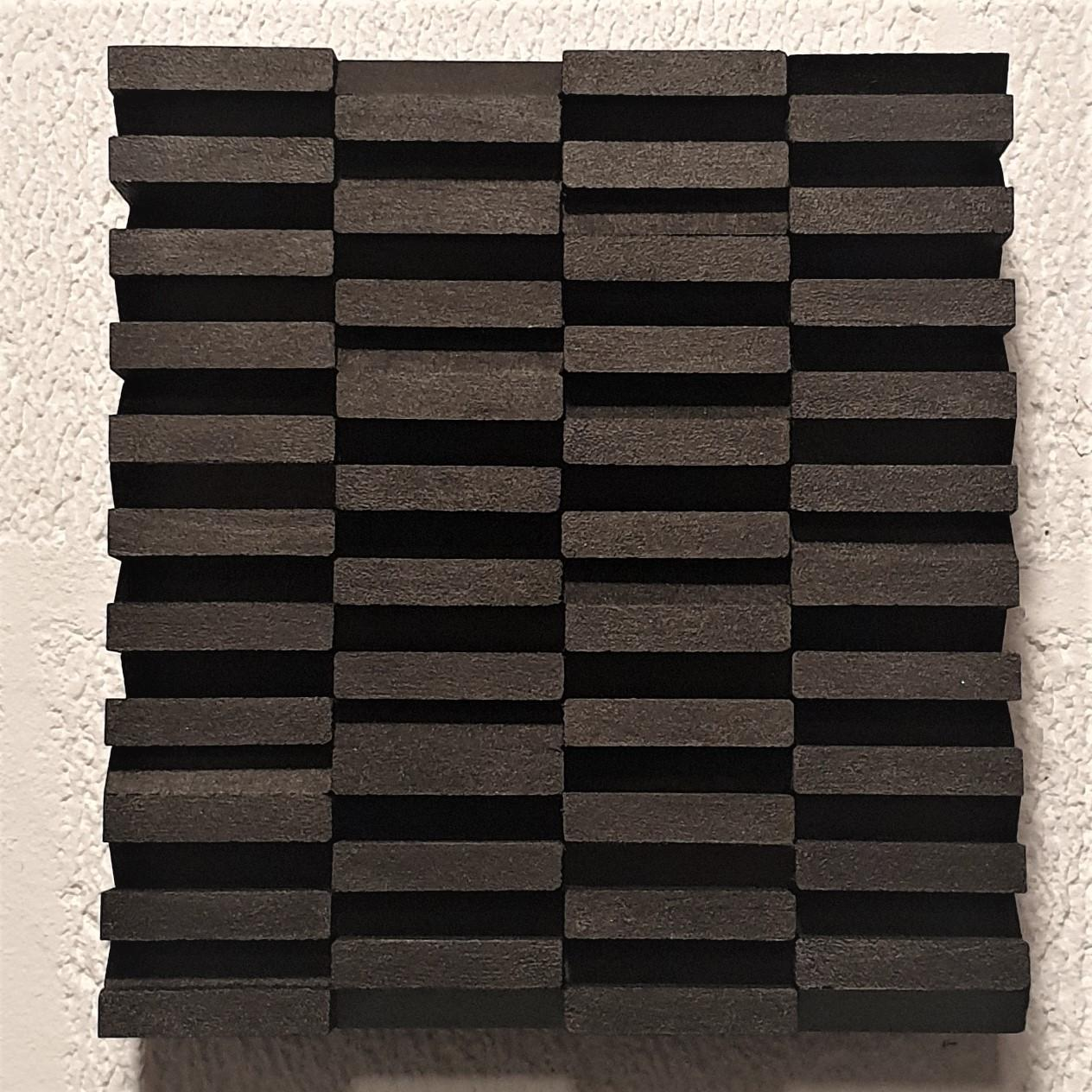Intervalle IV 8/25 - black grey contemporary modern sculpture painting relief