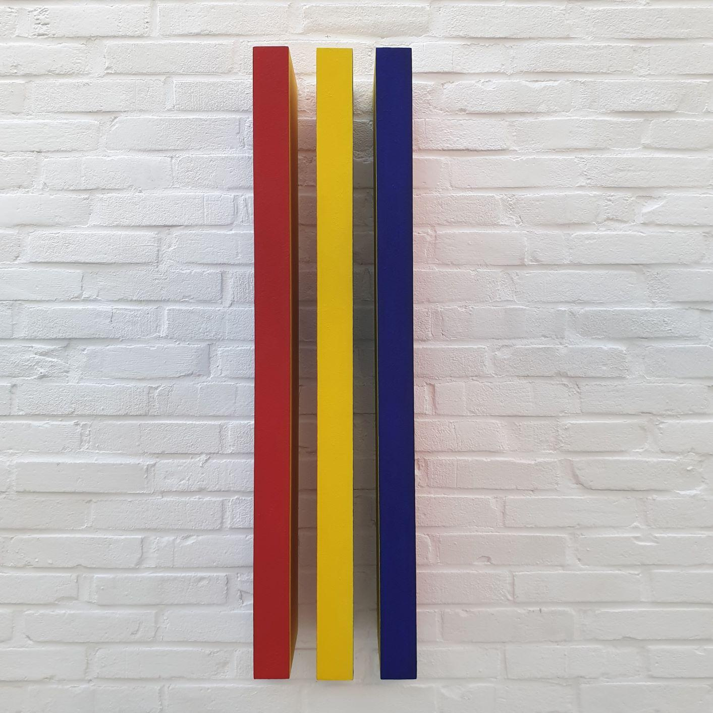 Réflexion des couleurs - red yellow blue contemporary modern painting relief