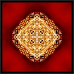 """""""Pépite 1"""", Gold Nugget on Red Semi-abstract Printed Photography on Dibond Panel"""