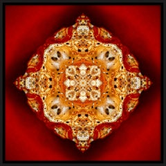 """""""Pépite 4"""", Gold Nugget on Red Semi-abstract Printed Photography on Dibond Panel"""