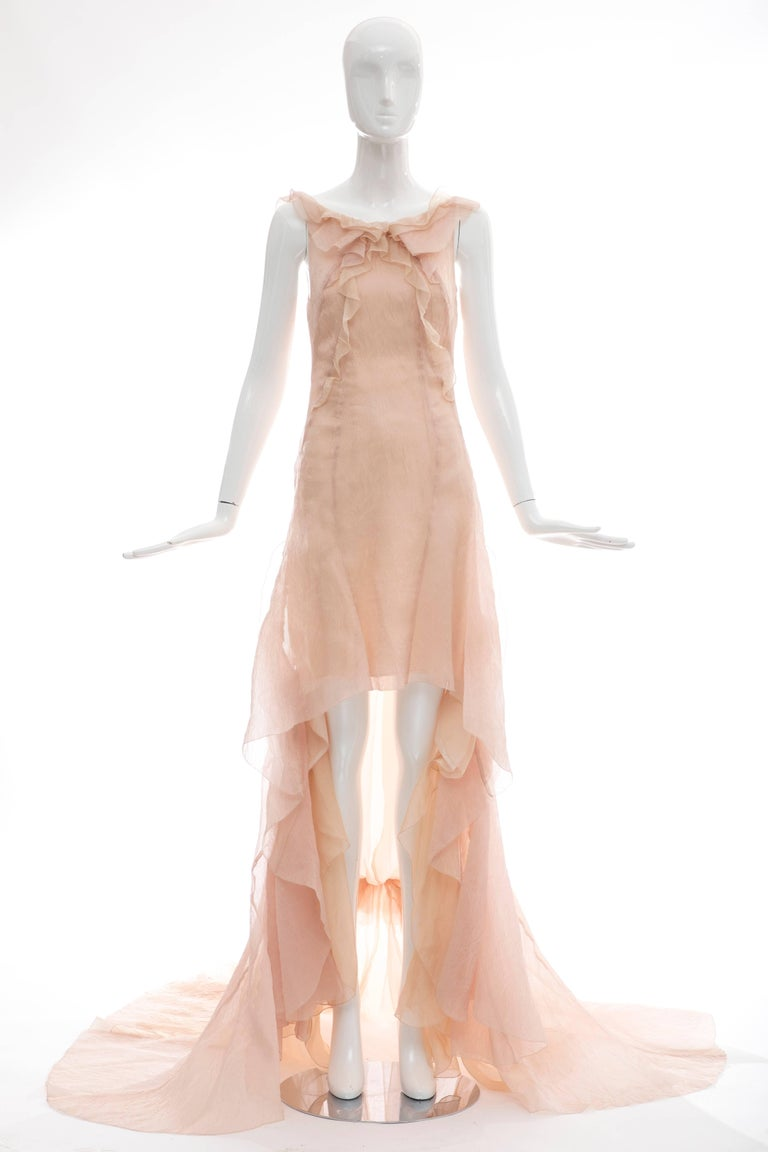 Olivier Theyskens for Nina Ricci, Spring-Summer 2009 blush silk nylon sleeveless evening dress with bateau neckline, ruffled accent throughout, high-low hemline featuring picot edges, open back with hook-and-eye closures and concealed zip closure at
