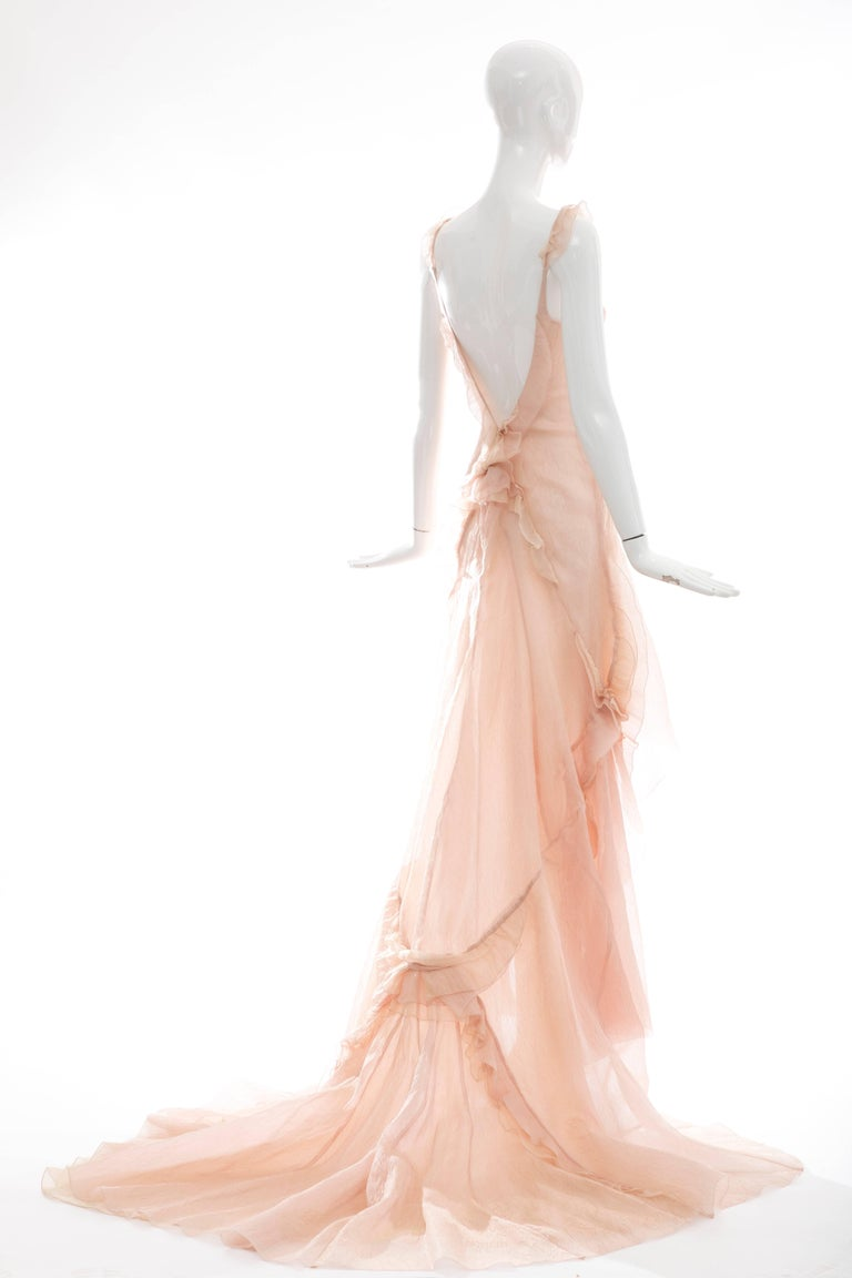 Beige Olivier Theyskens for Nina Ricci Blush Silk Nylon Evening Dress, Spring 2009 For Sale