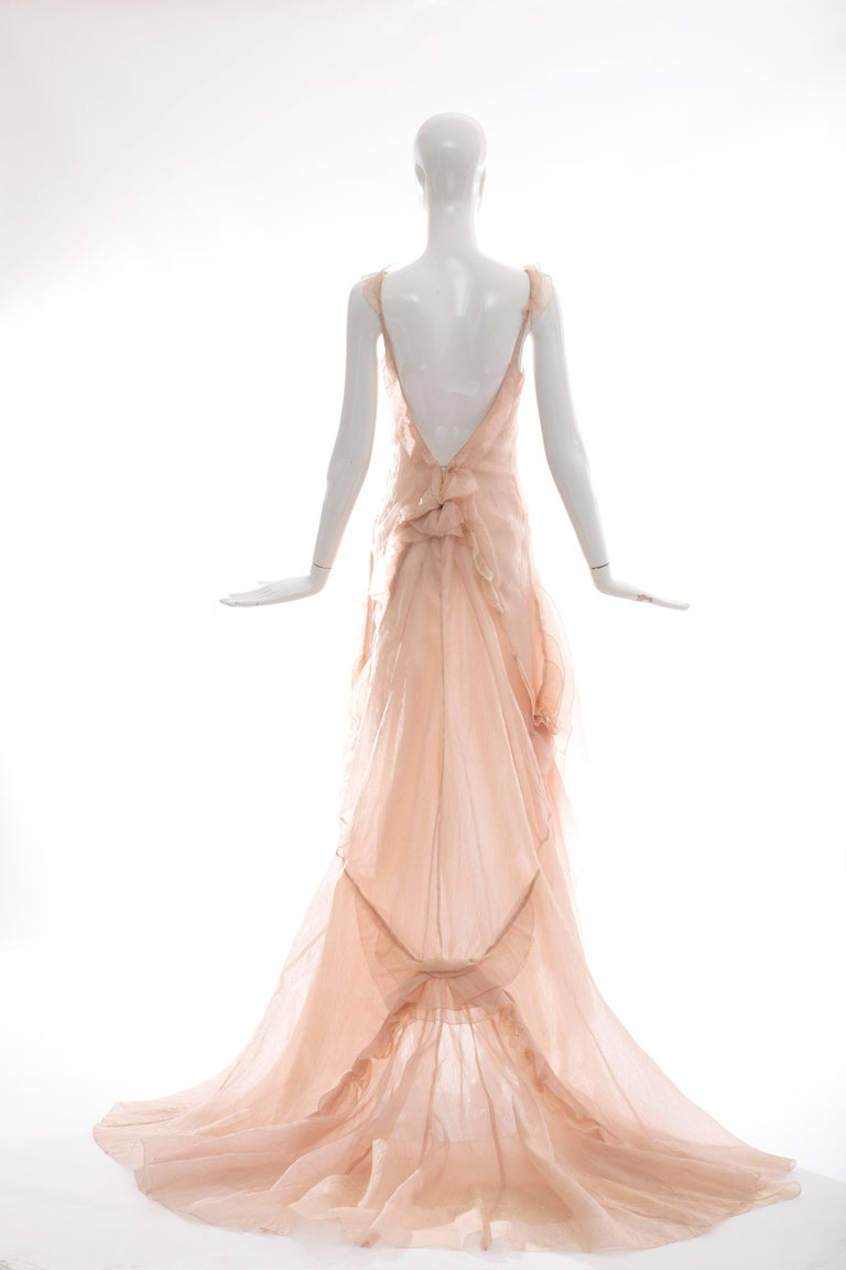 Olivier Theyskens for Nina Ricci Blush Silk Nylon Evening Dress, Spring 2009 In Excellent Condition For Sale In Cincinnati, OH