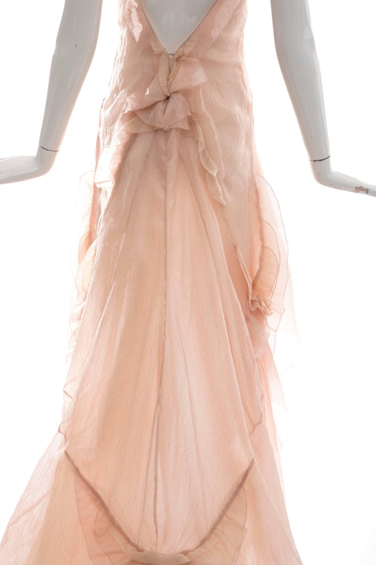 Women's Olivier Theyskens for Nina Ricci Blush Silk Nylon Evening Dress, Spring 2009 For Sale