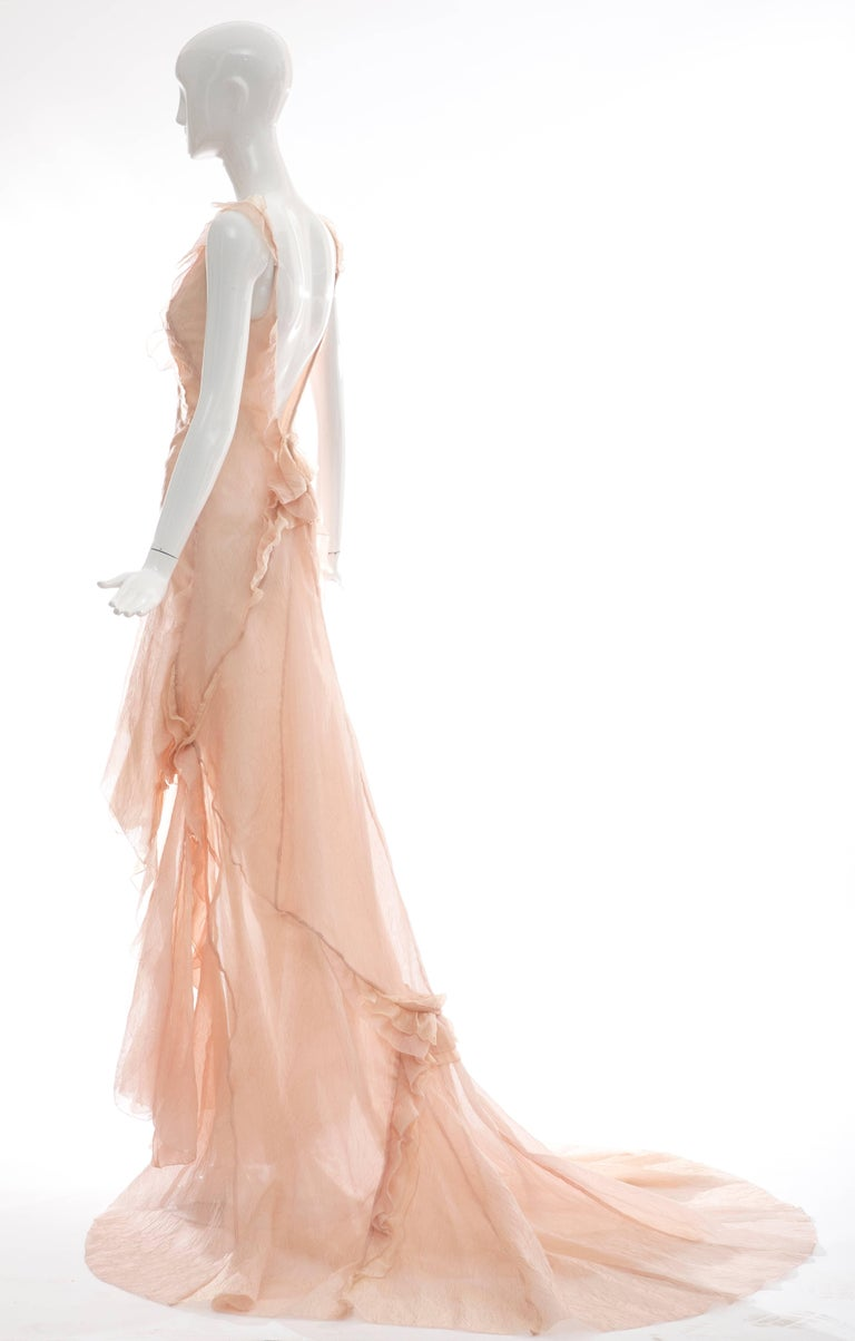 Olivier Theyskens for Nina Ricci Blush Silk Nylon Evening Dress, Spring 2009 For Sale 1