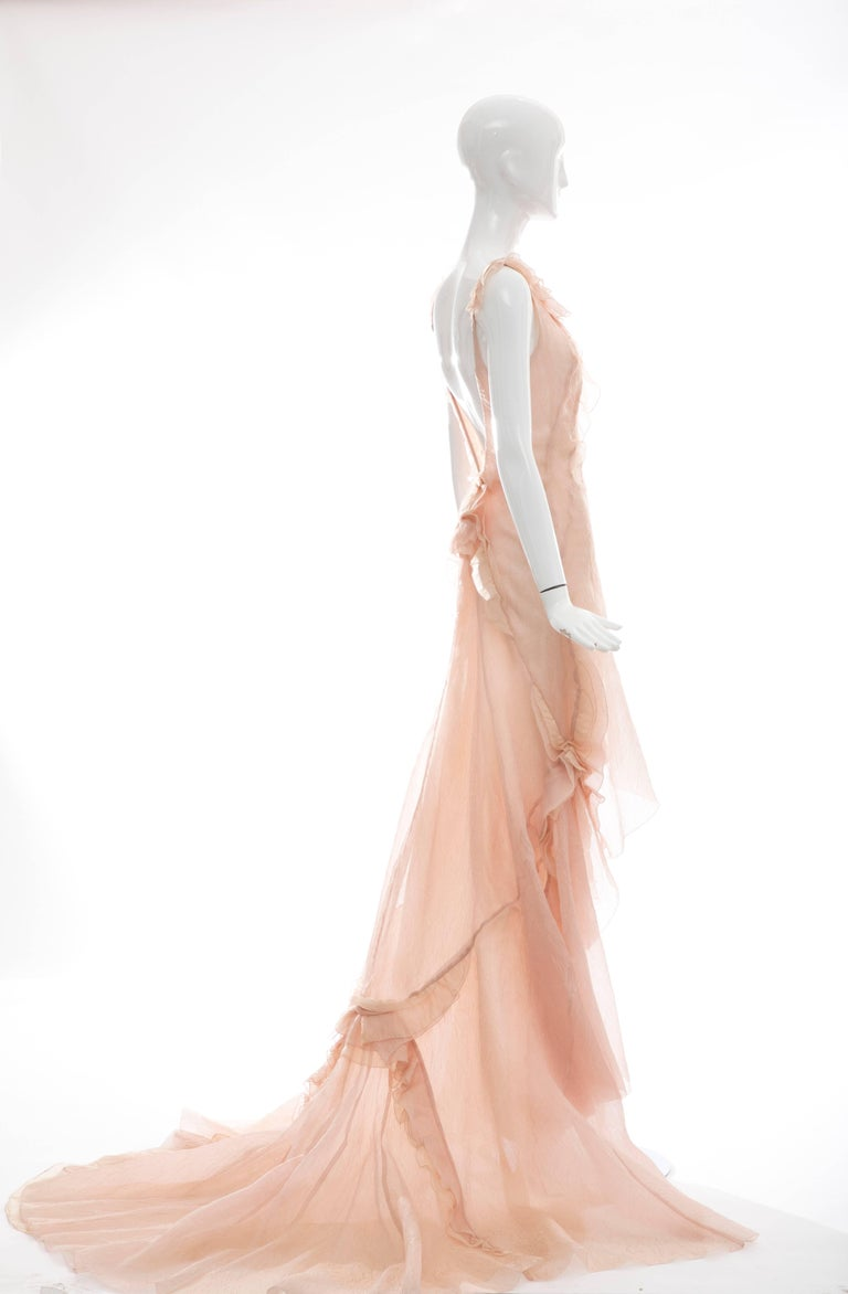 Olivier Theyskens for Nina Ricci Blush Silk Nylon Evening Dress, Spring 2009 For Sale 2