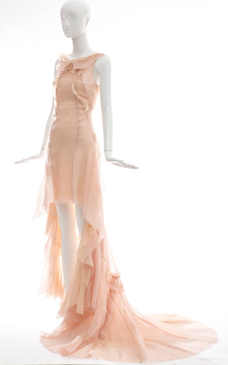 Olivier Theyskens for Nina Ricci Blush Silk Nylon Evening Dress, Spring 2009 For Sale 3