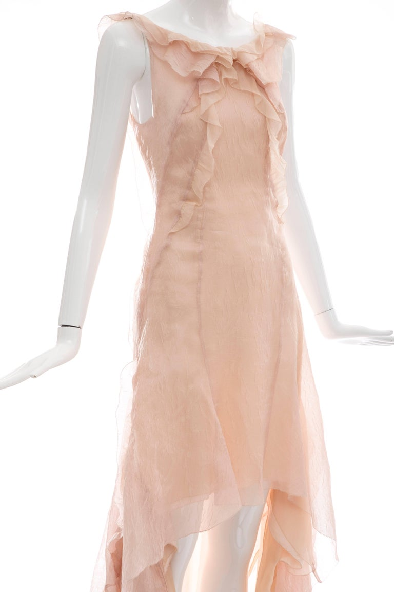 Olivier Theyskens for Nina Ricci Blush Silk Nylon Evening Dress, Spring 2009 For Sale 4