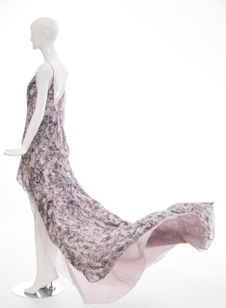 Olivier Theyskens For Nina Ricci Runway Silk Print Evening Dress, Spring 2009 For Sale 5