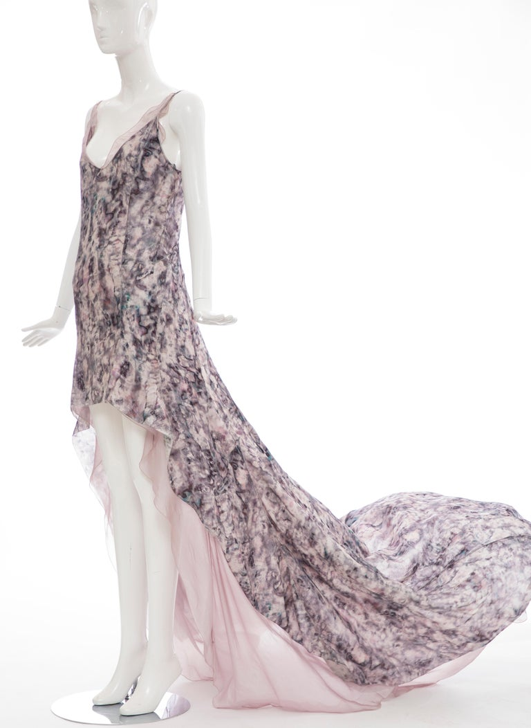 Olivier Theyskens For Nina Ricci Runway Silk Print Evening Dress, Spring 2009 For Sale 7