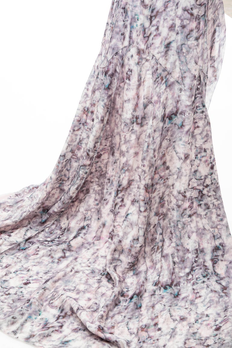 Olivier Theyskens For Nina Ricci Runway Silk Print Evening Dress, Spring 2009 For Sale 9