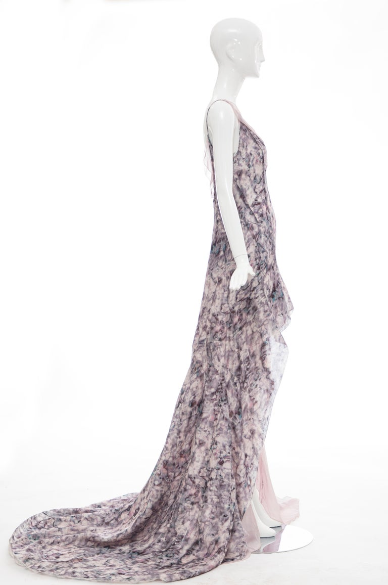 Gray  Olivier Theyskens For Nina Ricci Runway Silk Print Evening Dress, Spring 2009 For Sale