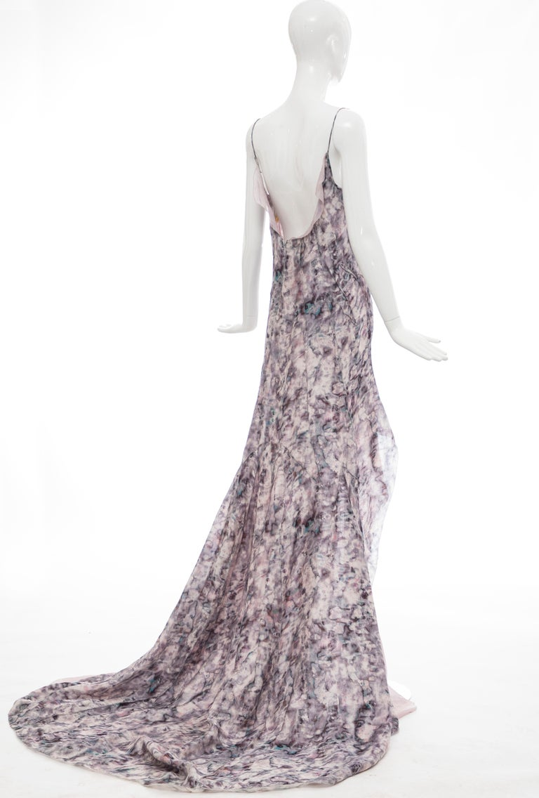 Olivier Theyskens For Nina Ricci Runway Silk Print Evening Dress, Spring 2009 In Excellent Condition For Sale In Cincinnati, OH