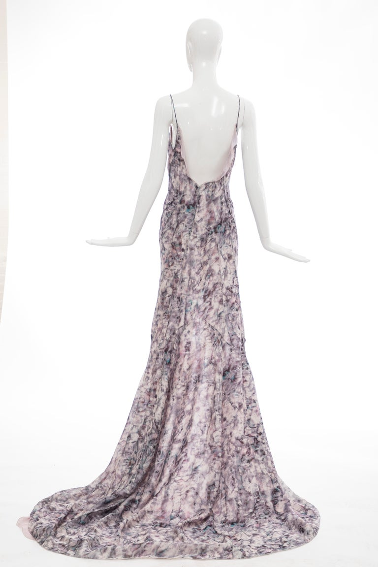 Women's  Olivier Theyskens For Nina Ricci Runway Silk Print Evening Dress, Spring 2009 For Sale