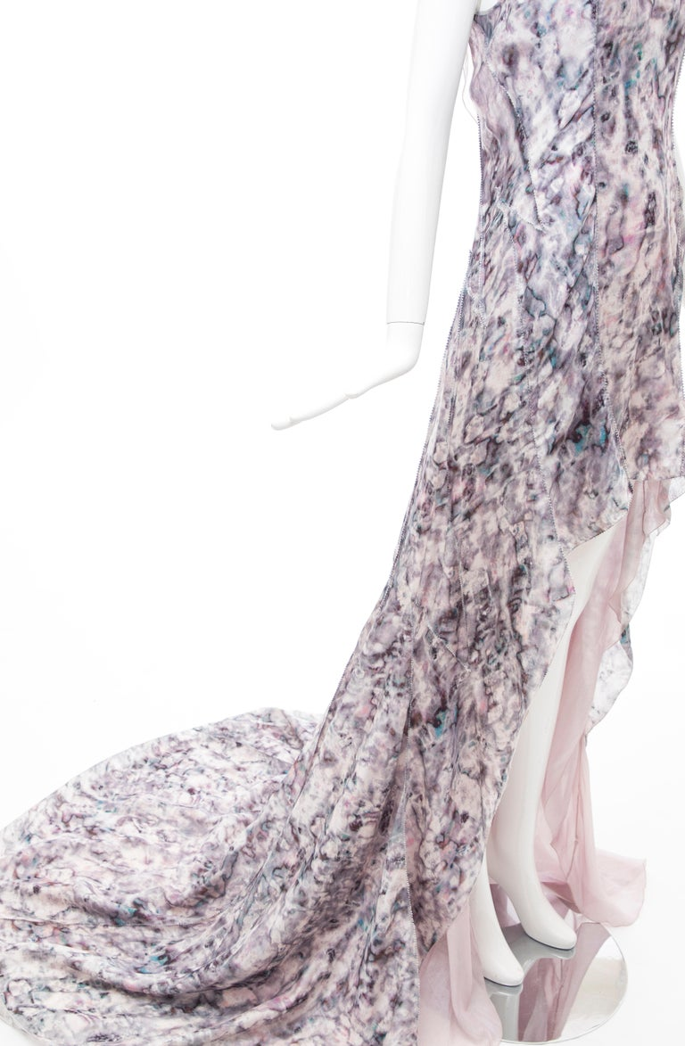 Olivier Theyskens For Nina Ricci Runway Silk Print Evening Dress, Spring 2009 For Sale 2