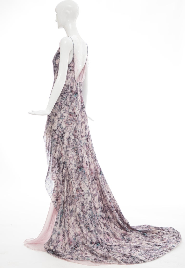 Olivier Theyskens For Nina Ricci Runway Silk Print Evening Dress, Spring 2009 For Sale 3