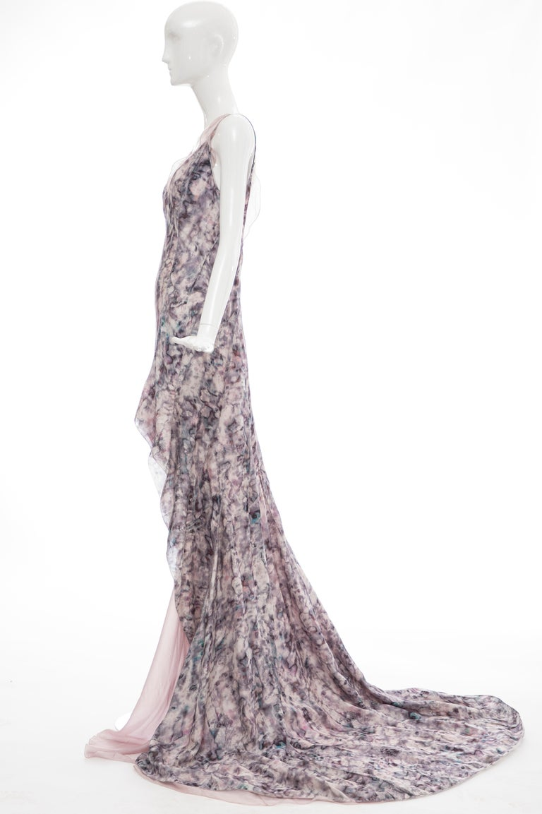 Olivier Theyskens For Nina Ricci Runway Silk Print Evening Dress, Spring 2009 For Sale 4
