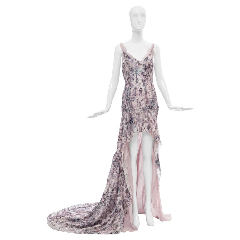 Olivier Theyskens For Nina Ricci Runway Silk Print Evening Dress, Spring 2009 For Sale