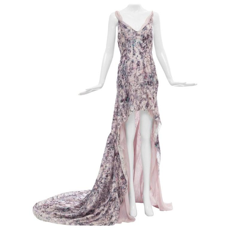 Olivier Theyskens for Nina Ricci Runway Silk Print Evening Dress, Spring 2009 For Sale