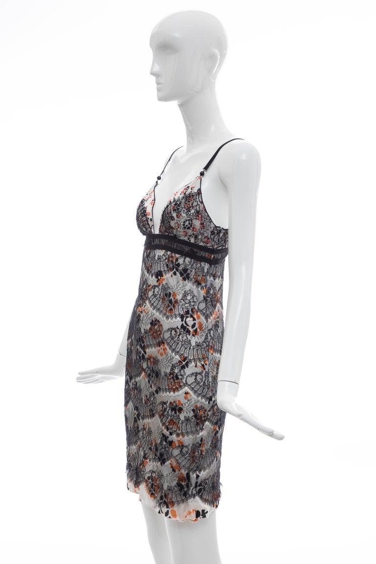 Olivier Theyskens Rochas Black Lace Overlay Floral Silk Slip Dress, Fall 2003  For Sale 6