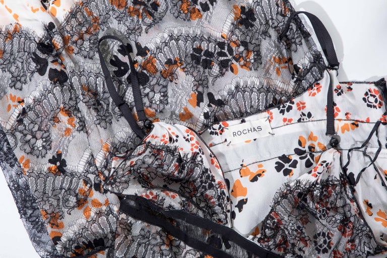 Olivier Theyskens Rochas Black Lace Overlay Floral Silk Slip Dress, Fall 2003  For Sale 7