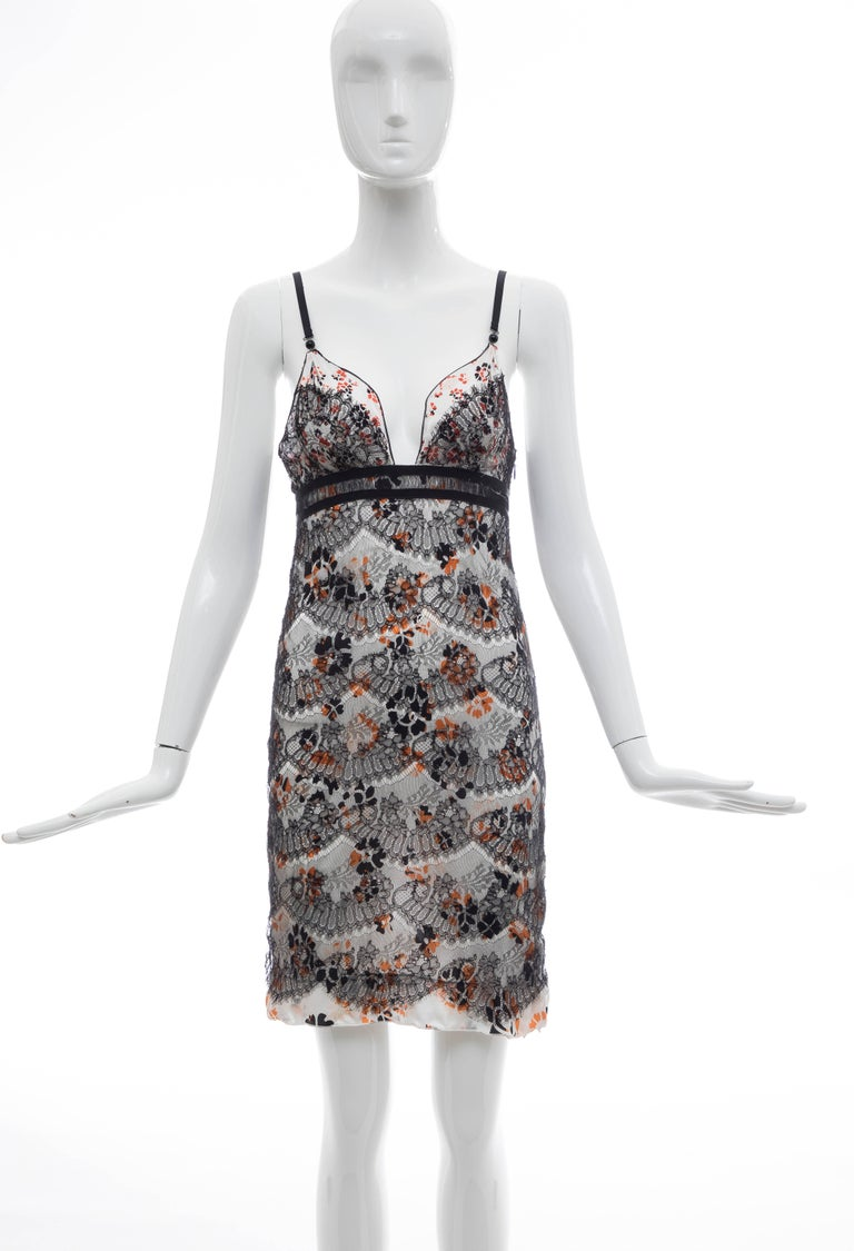 Olivier Theyskens for Rochas, Fall 2003 floral silk charmeuse slip dress with V-neck, adjustable shoulder straps, black lace overlay and zip closure at side. Size not listed, estimated from measurements.  Bust: 27, Waist 25, Hip 30, Length 34
