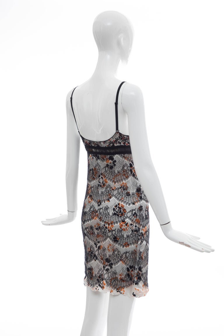 Olivier Theyskens Rochas Black Lace Overlay Floral Silk Slip Dress, Fall 2003  For Sale 2