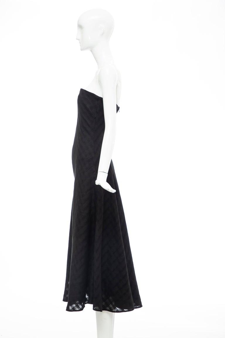 Olivier Theyskens Runway Black Linen Dress, Spring 2000 For Sale 7