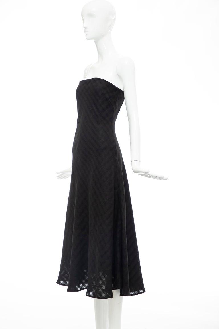 Olivier Theyskens Runway Black Linen Dress, Spring 2000 For Sale 8