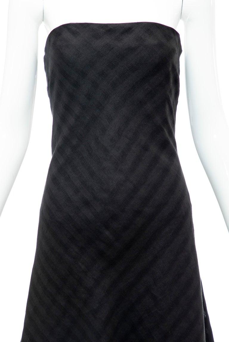 Women's Olivier Theyskens Runway Black Linen Dress, Spring 2000 For Sale