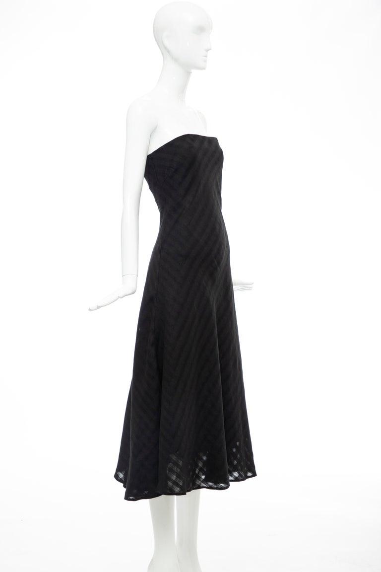 Olivier Theyskens Runway Black Linen Dress, Spring 2000 For Sale 1