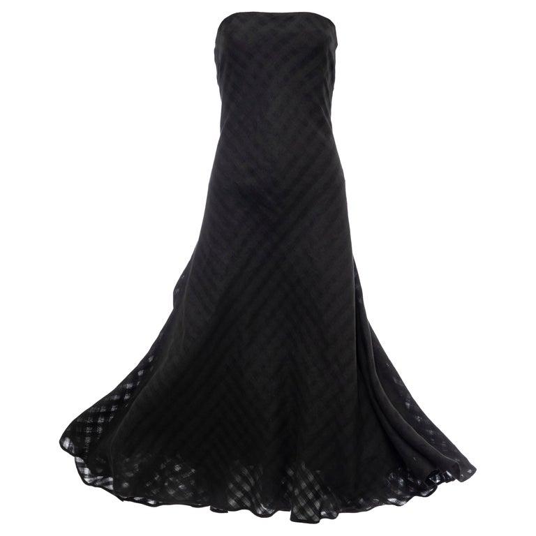 Olivier Theyskens Runway Black Linen Dress, Spring 2000 For Sale
