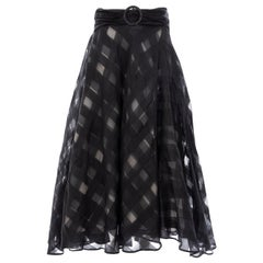 Olivier Theyskens Runway Black Silk Checkerboard Pattern Skirt, Spring 2000