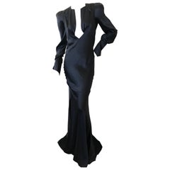 Olivier Theyskins Bias Cut Black Silk Plunging Evening Dress with Bold Shoulders