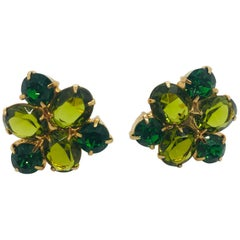 Olivine Austrian Crystal Cuff Links
