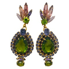 Olivine, Tanzanite, Amethyst Austrian Crystal Pendant Drop Earrings