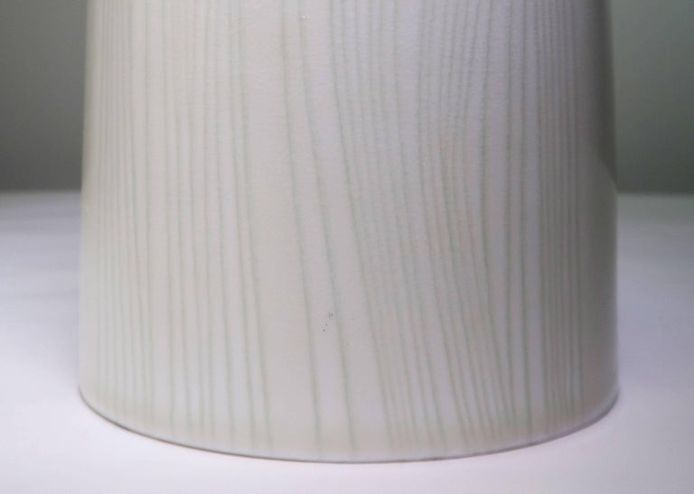 Porcelain Olle Alberius for Rorstrand Mint Green Midcentury Swedish Table Lamp, 1960s For Sale