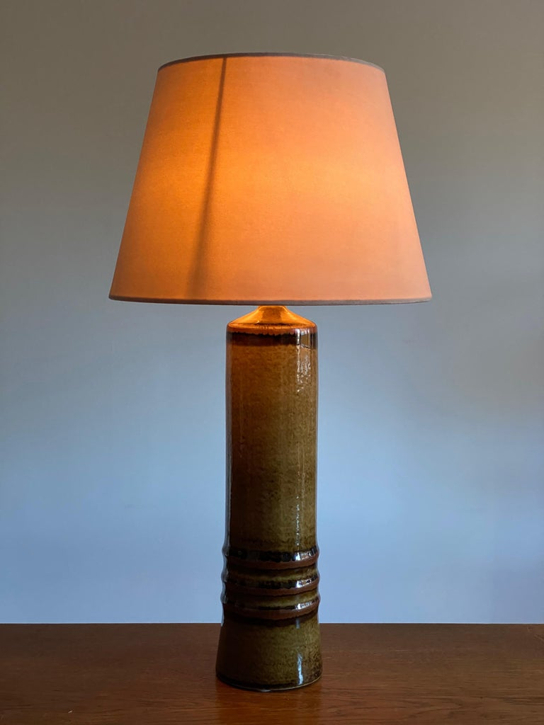 Mid-Century Modern Olle Alberius, Large Table Lamp, Green-Glazed Stoneware, Rörstrand, Sweden 1960s For Sale
