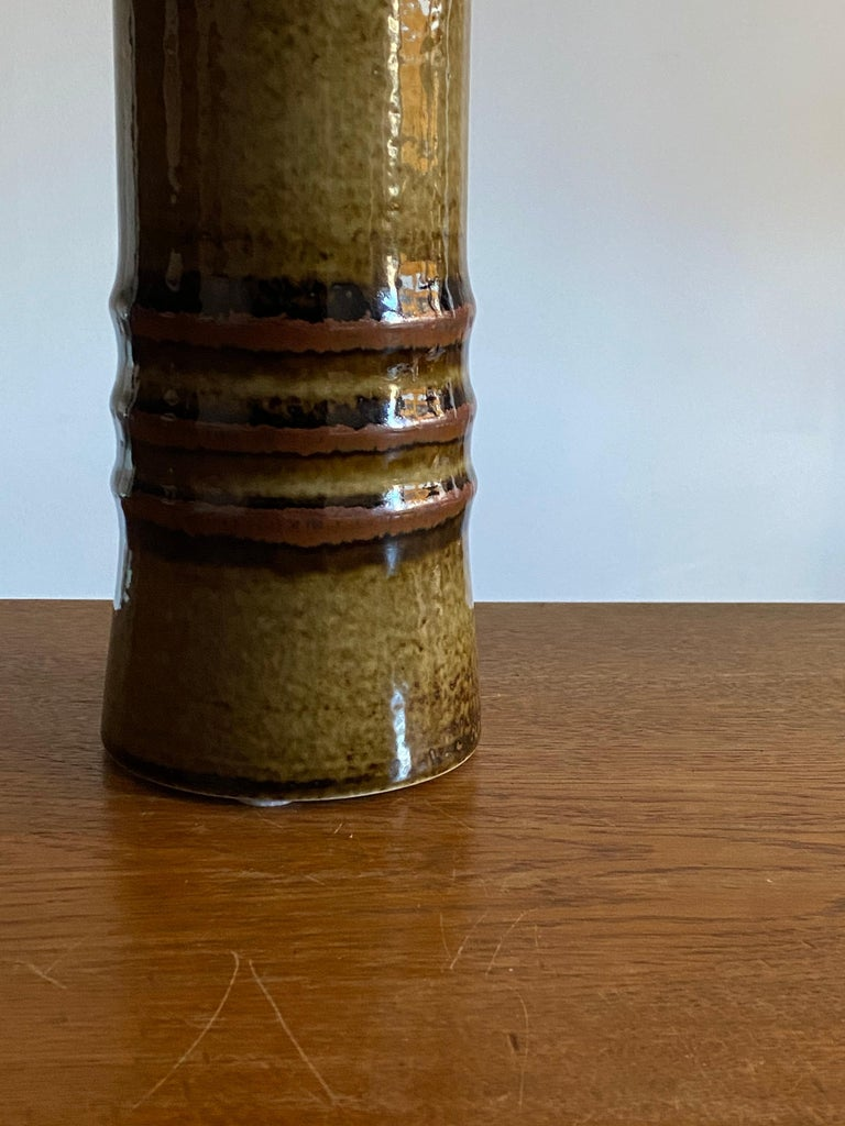 Swedish Olle Alberius, Large Table Lamp, Green-Glazed Stoneware, Rörstrand, Sweden 1960s For Sale
