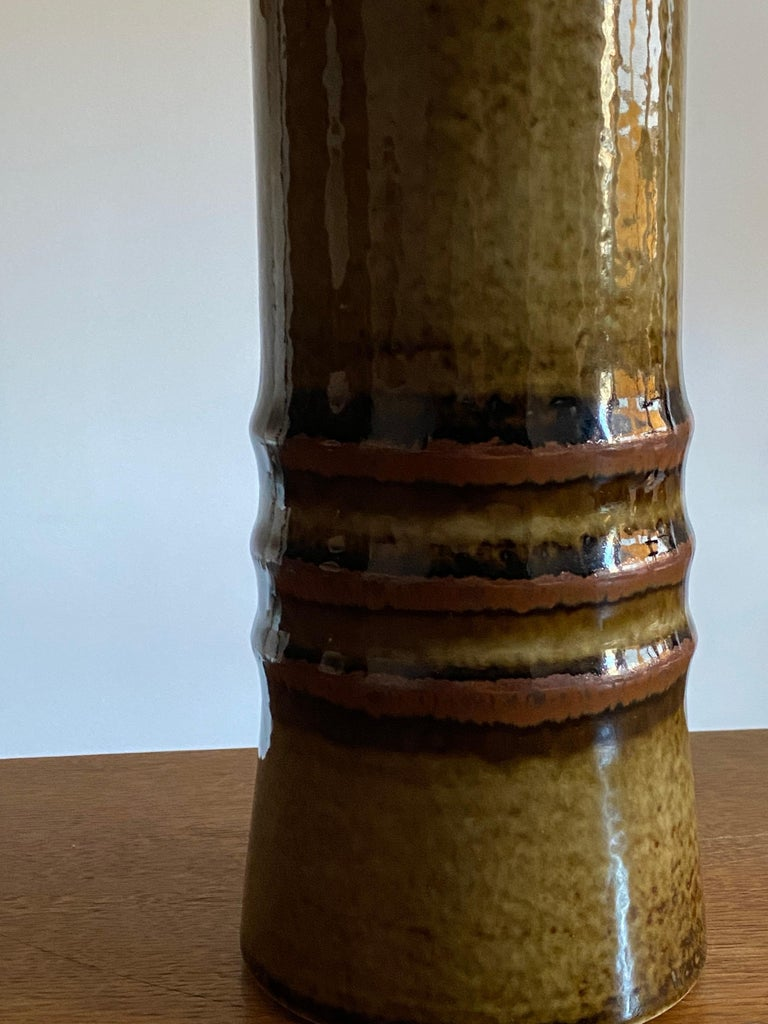 Olle Alberius, Large Table Lamp, Green-Glazed Stoneware, Rörstrand, Sweden 1960s For Sale 1