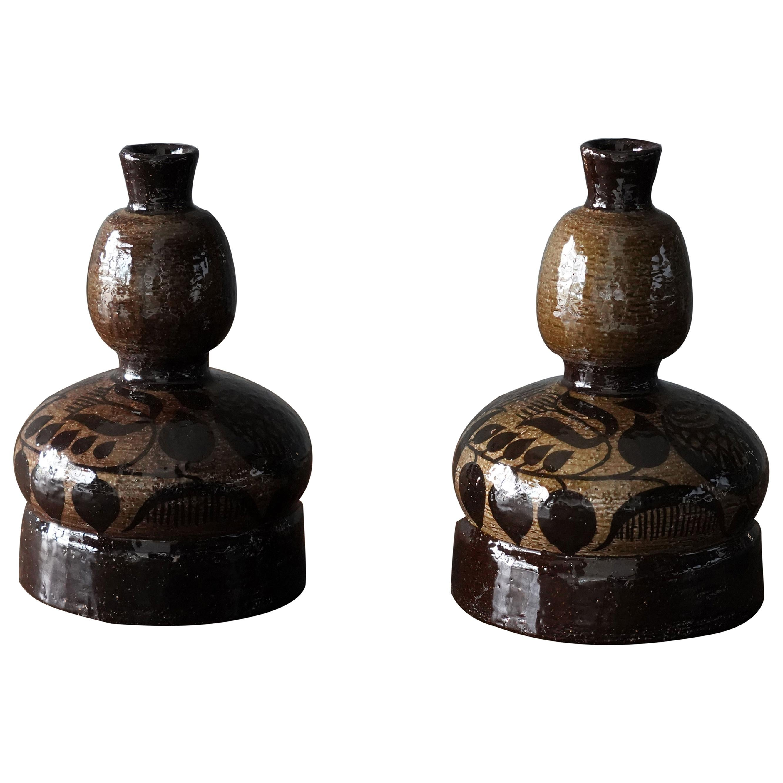 Olle Alberius, Organic Vases / Vessels, Glazed Stoneware, Rörstrand Sweden 1960s