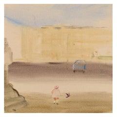 Olle Lindgren, Sweden, Oil on Canvas, City Motif, Dated 1976
