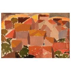 Olle Rhönnstad '1931-1988', Sweden, Oil on Canvas Modernist City View, 1960's