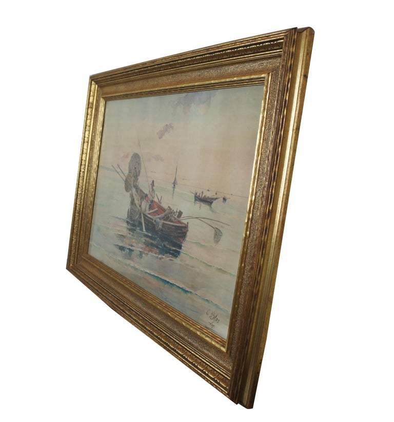 Olleroy Blas 19th Century Italian Watercolor Seascape Painting Fishing Boats In Good Condition For Sale In Dayton, OH